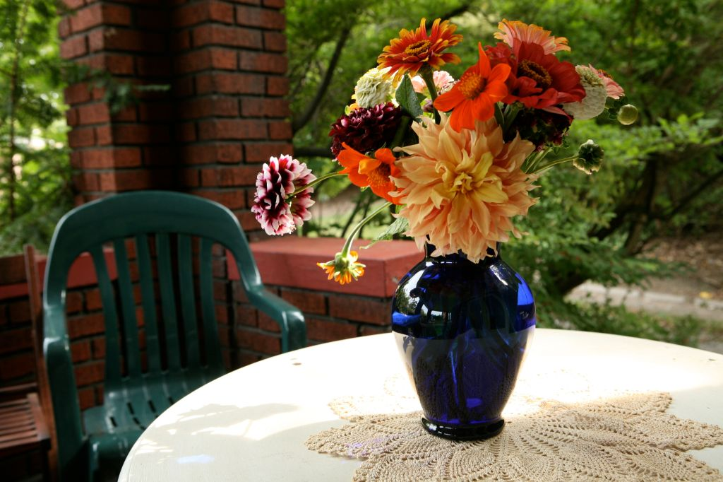 Zinnias and Dahlias in a Cobalt Blue Vase on My Front Porch