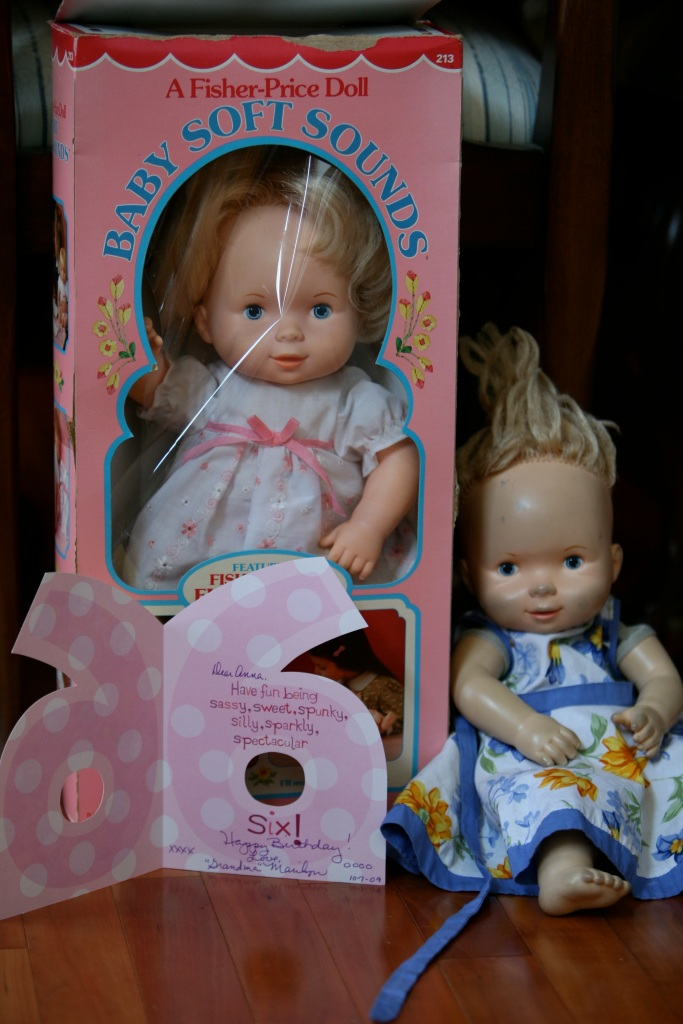 Best Loved Baby Doll on the Right, Factory Twin on Left b. 1979