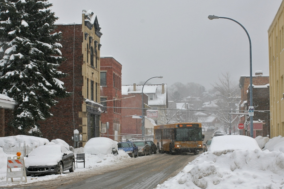 PAT City Bus turns the corner on Bryant Street Pittsburgh.