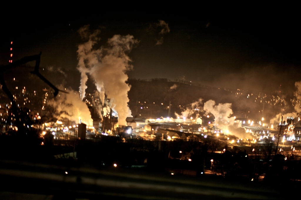 Pittsburgh Steel Mill at Night
