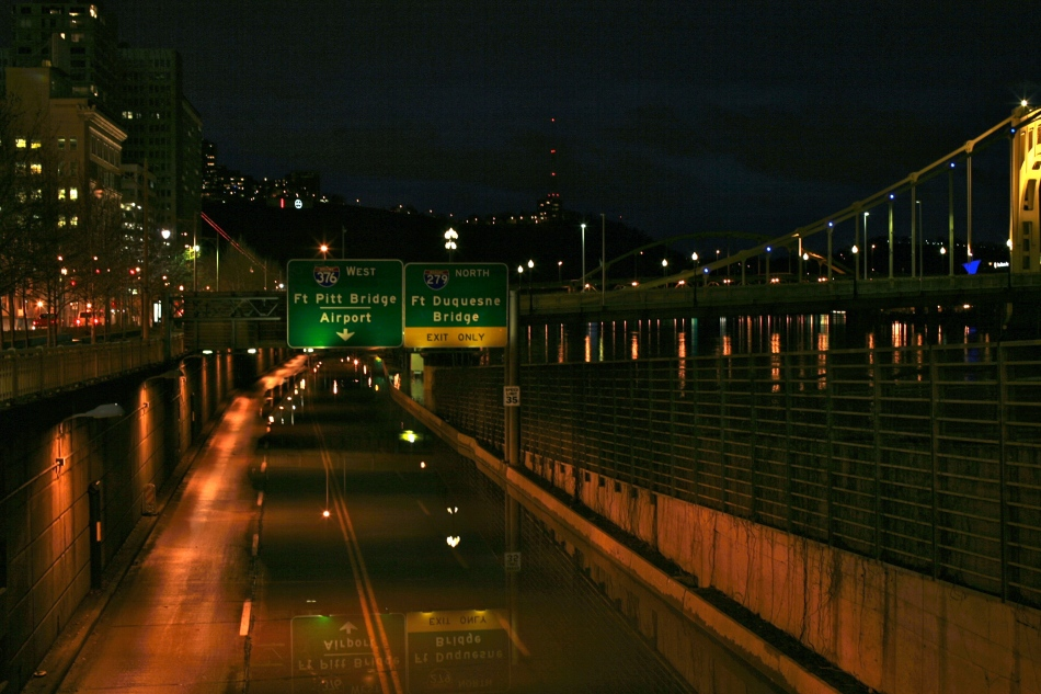 Allegheny River Flooding onto 10th St Bypass Pittsburgh