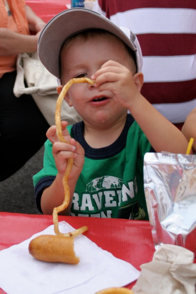 Jack examines his French Fry at the Ohio State Fair.