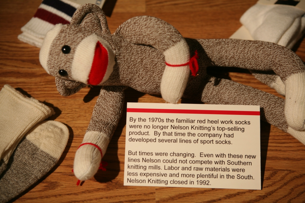 One of the displays at the Sock Monkey Exhibit