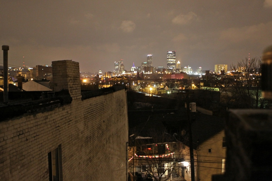 Night view of the city from the South Side.