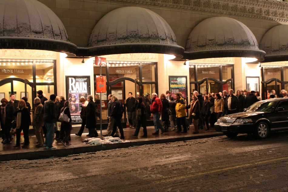 Tuesday night, downtown Pittsburgh, snow doesn't deter theater-goers.