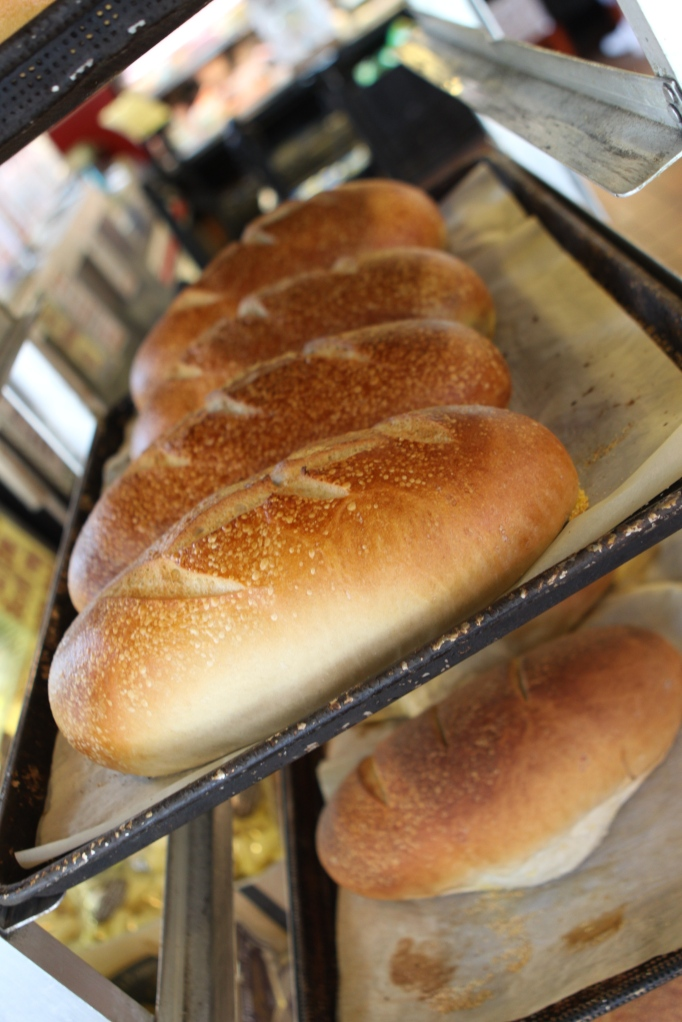 Fresh baked loaves of Italian bread
