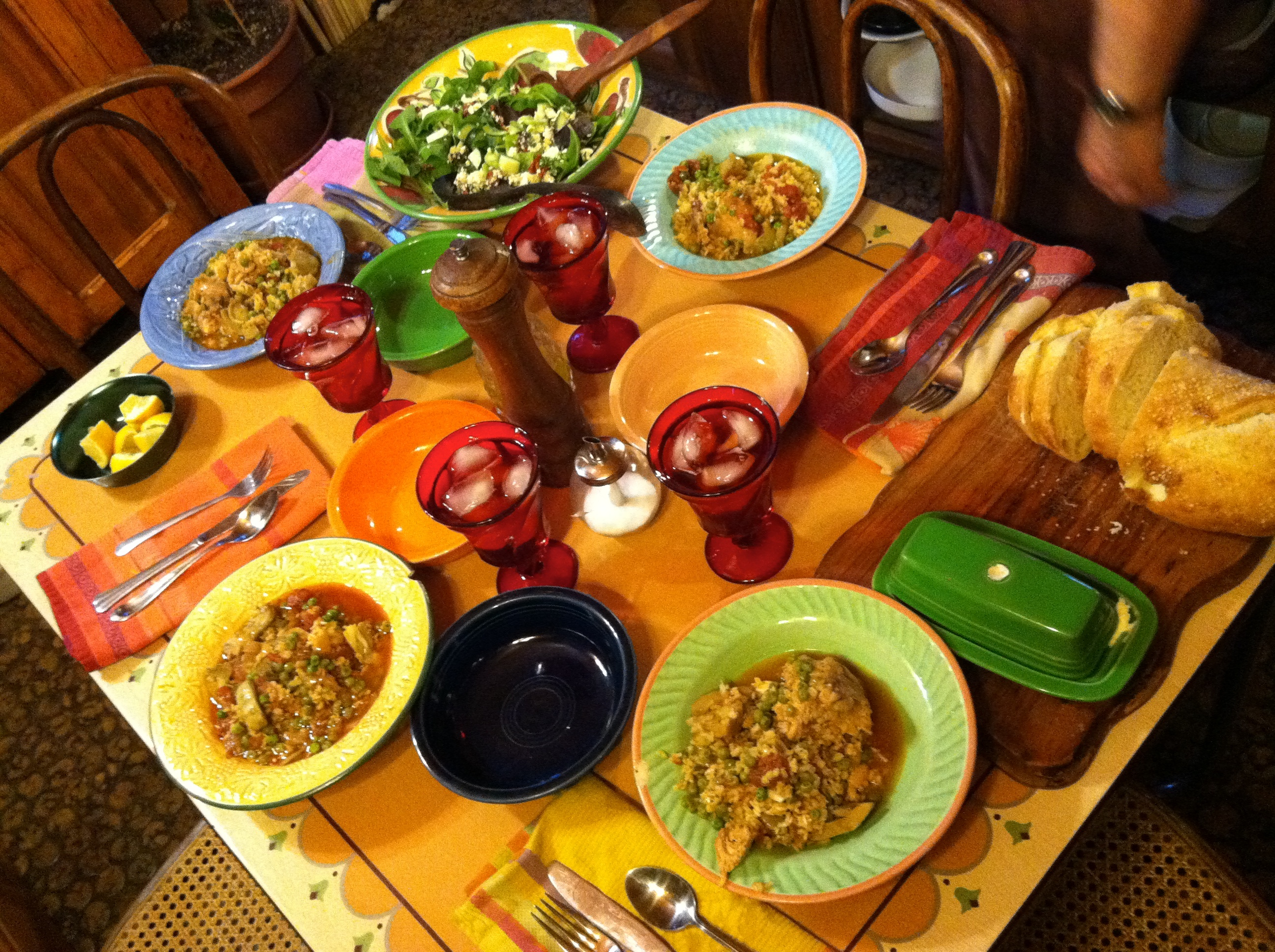 Dinner table with mexican food - Mexican Chicken Stew Spring Mix Salad With Cucumbers And Feta Greek Salad Dressing Made With Olive Oil And Lemon Juice Bread And Amish Butter