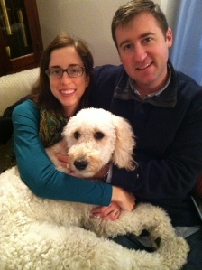 with Penny the Golden Doodle