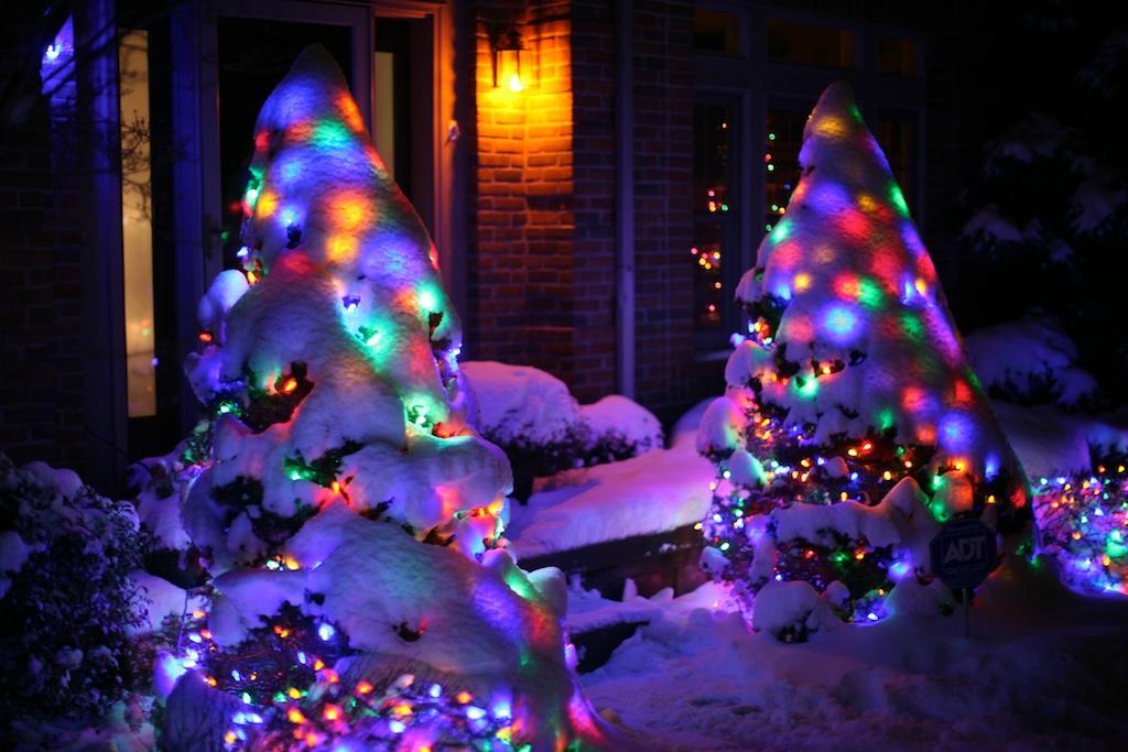 Christmas lights in snow ruth e hendricks photography