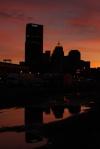 city reflection at sunset