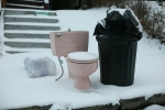Pink Toilet in the Snow