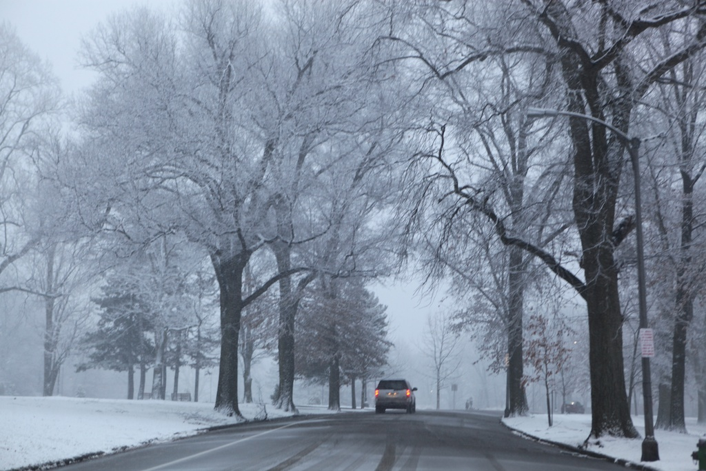 park road in snow