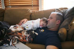 Maura asleep on Daddy