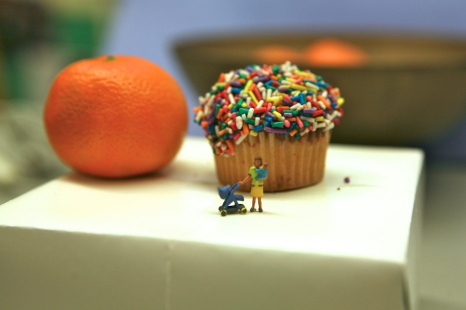 Miniature Cupcake and sprinkles