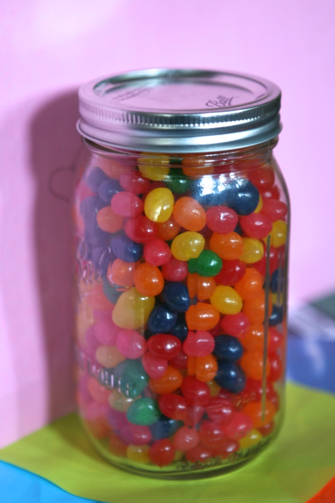 Last chance to guess how many jelly beans are in the jar ...  Jelly Bean How Many Slips