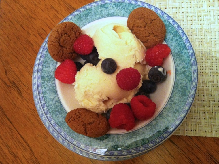 Bowl of Ice Cream and Fruit