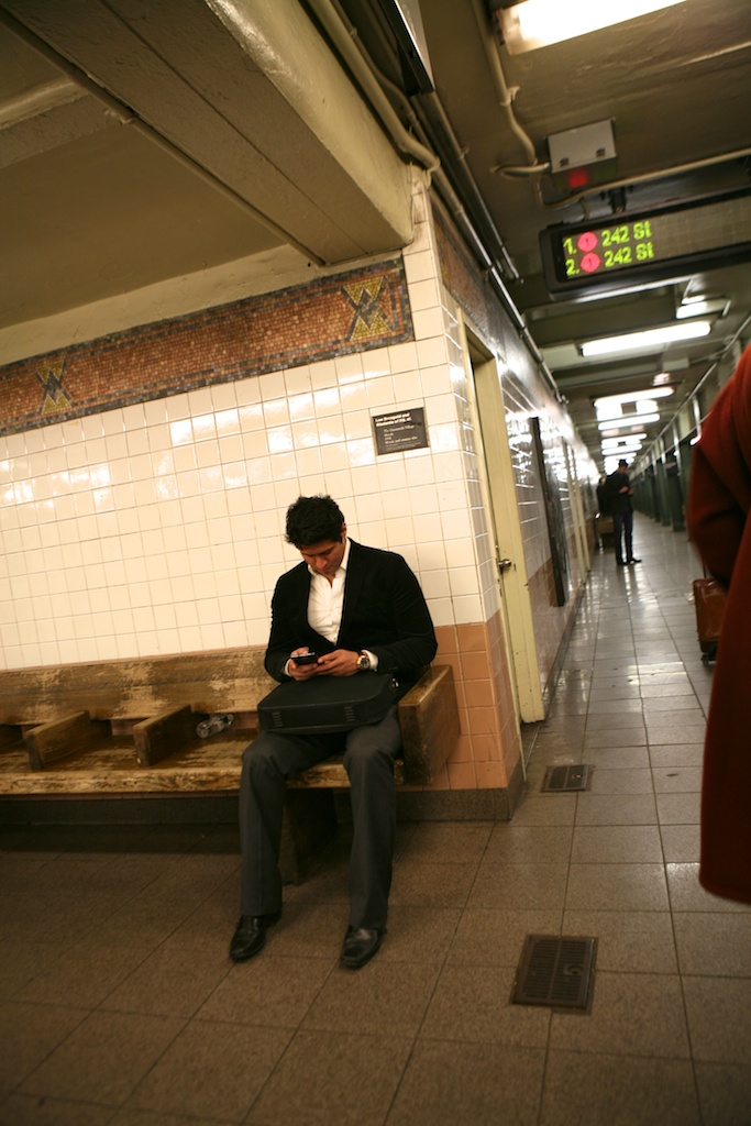 cell phone subway