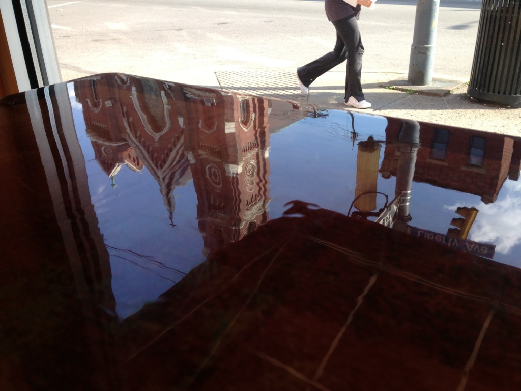 Laquered Table with Church Reflection