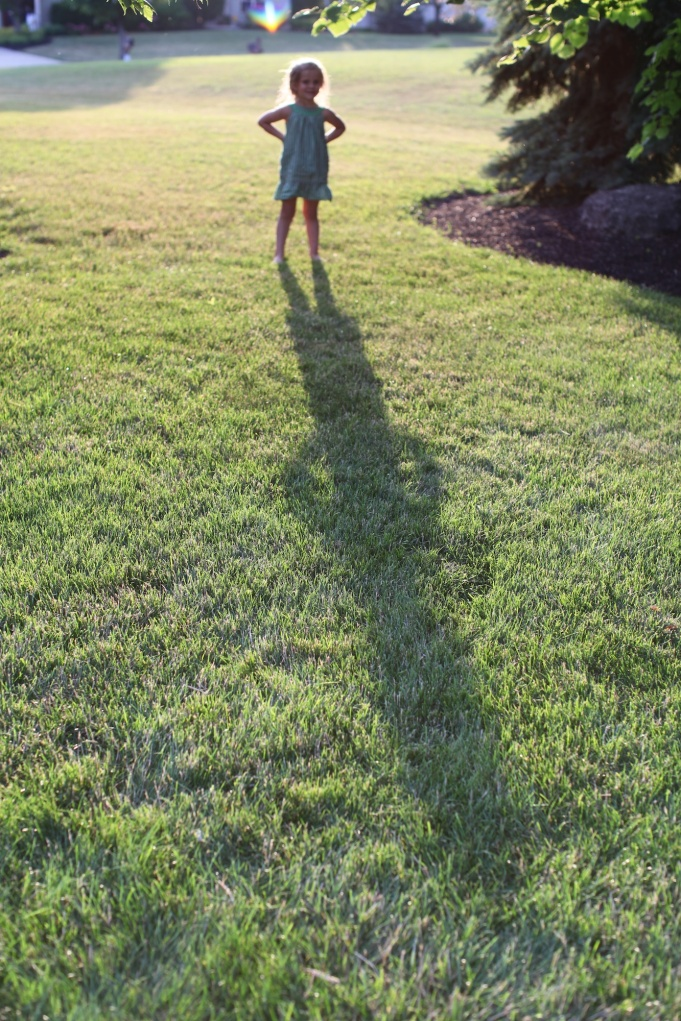 A tall shadow at dusk