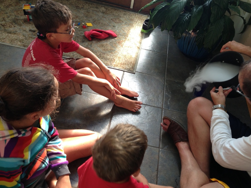 Mark shows the kids dry ice with water
