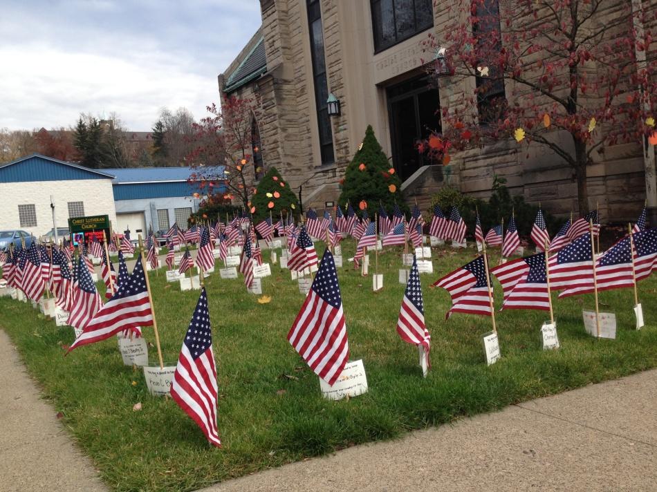 flags in a churchyard