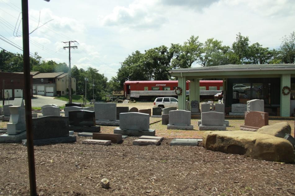 gravestones and railcar