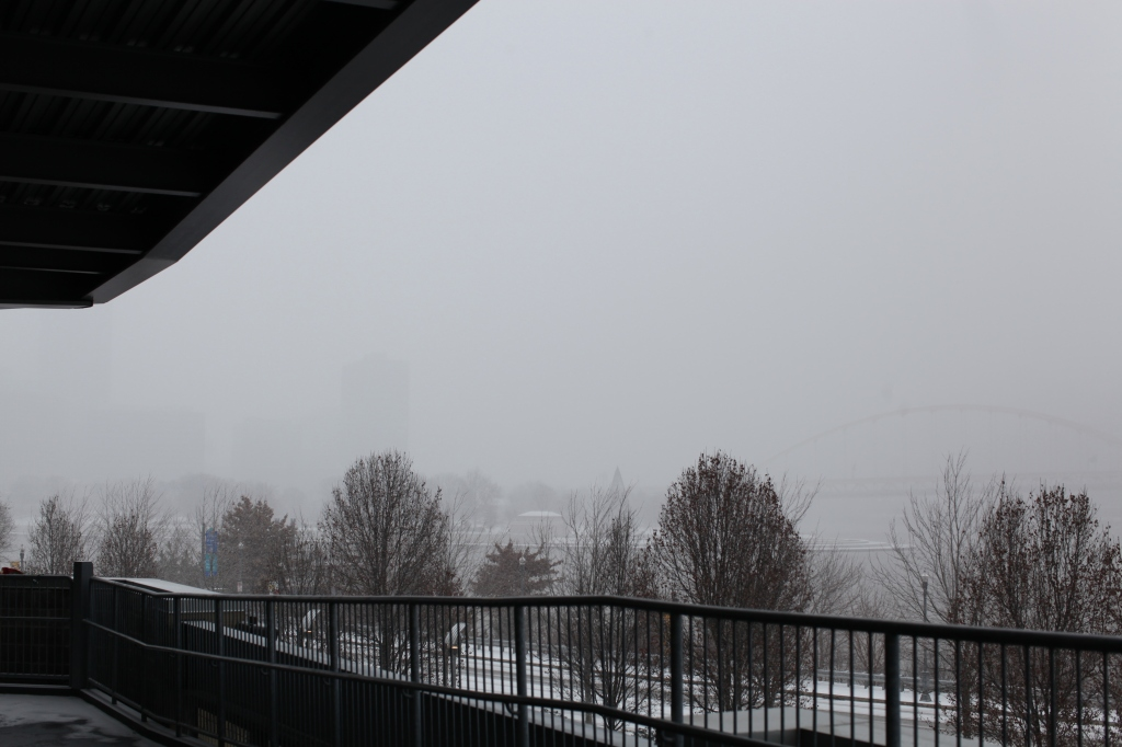 Pittsburgh in Snow and fog