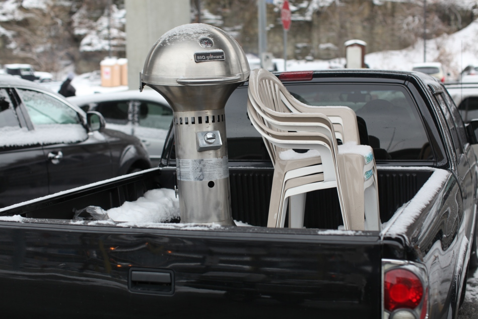 BBQ and Chairs in the Lot