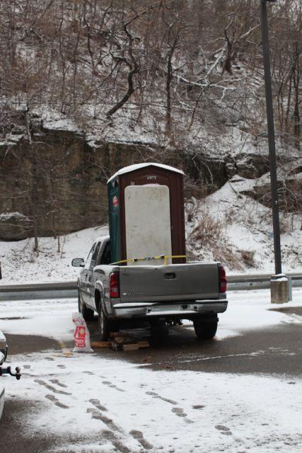 Porta Potty in Pickup Truck