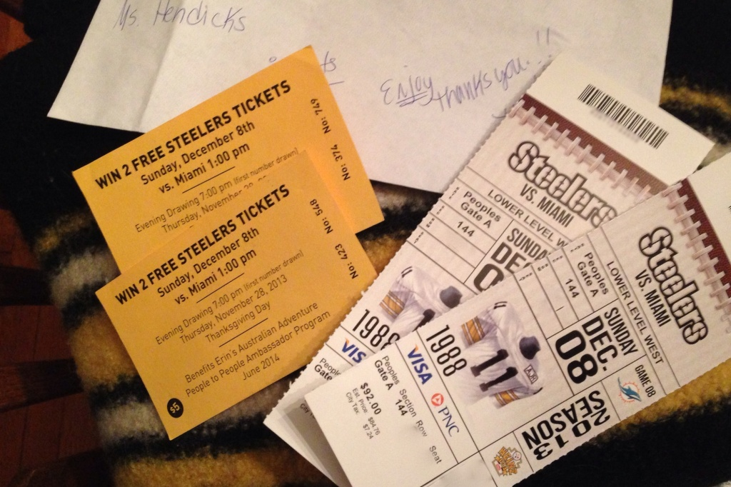 Steelers Tickets and the original raffle tix which have been on my fridge door for months!