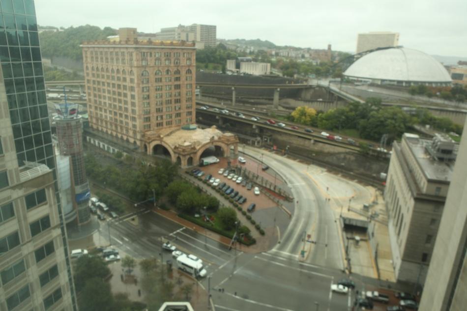 through a hotel window