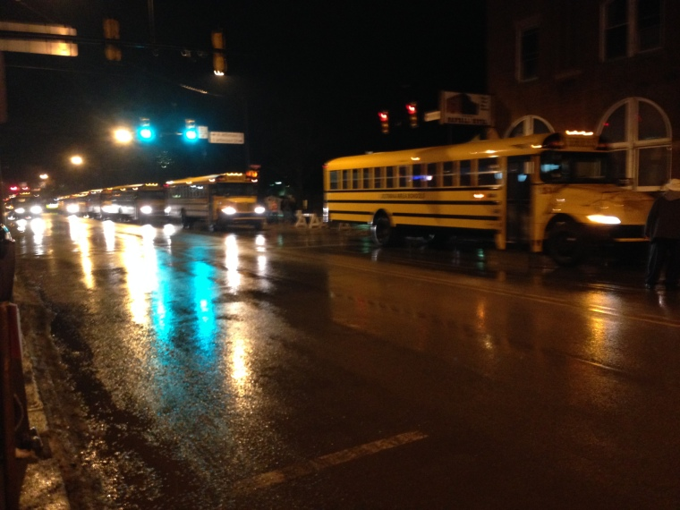 School Buses Waiting to Take Groundhog Fans