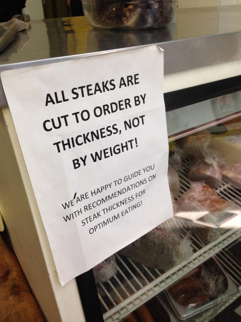 Steak thickness