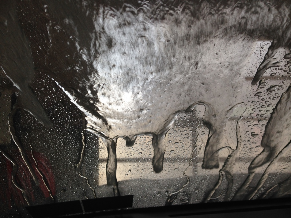 sheets of water on windshield