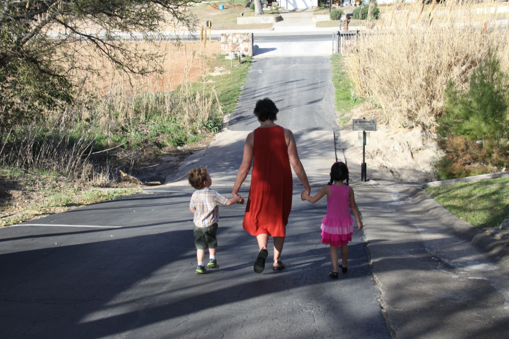 Walking with two grandchildren