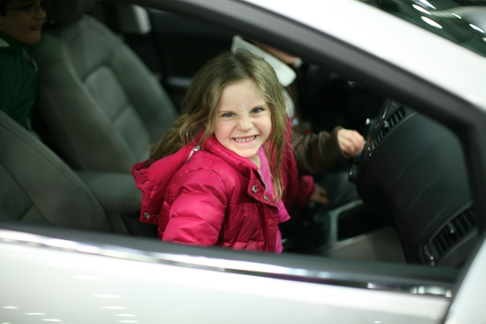 MAura inside a car
