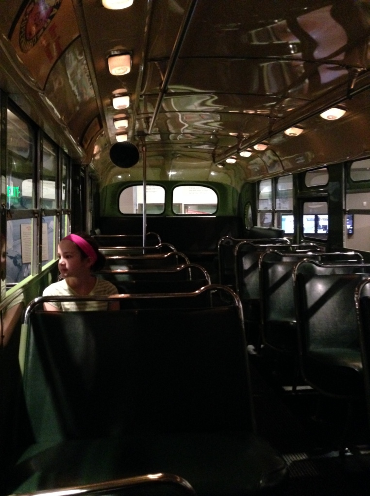 Anna on the Rosa Parks bus