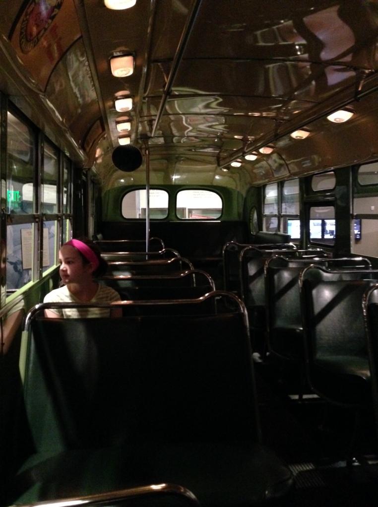 Anna on the Rosa Parks bus