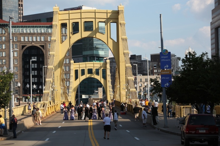 Someone's Wedding on Roberto Clemente Bridge