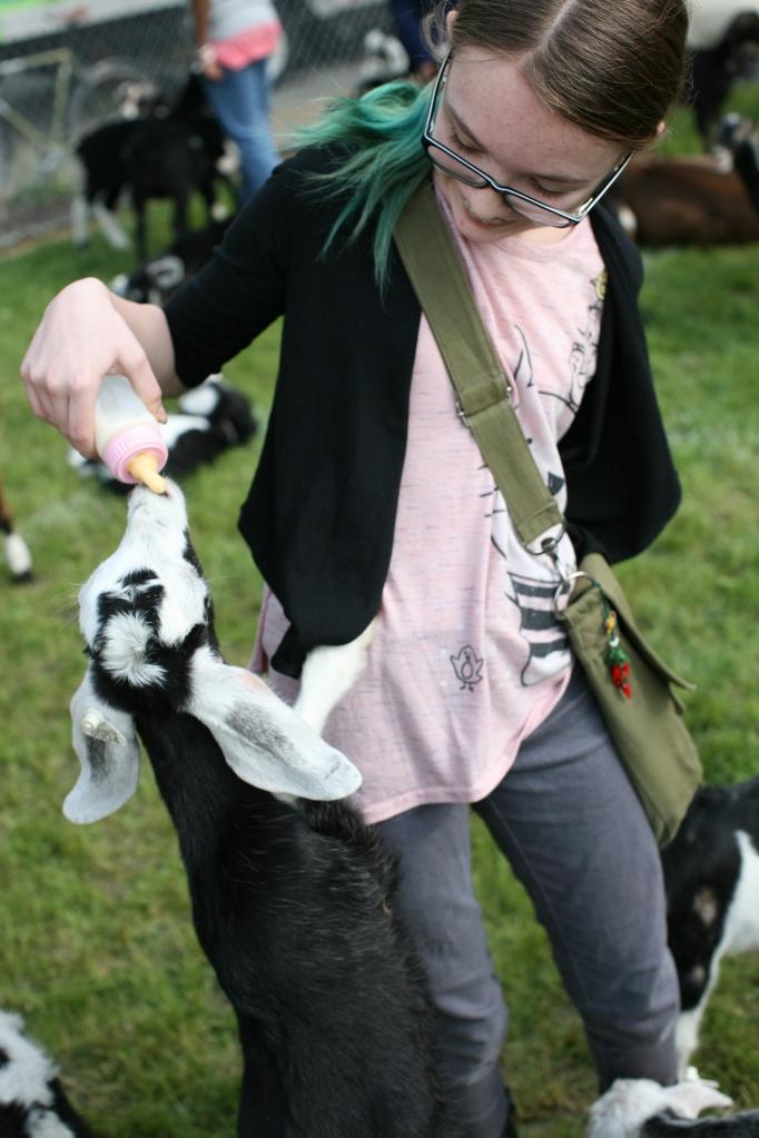 Wylie feeding a baby goat