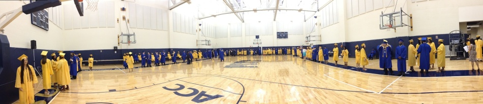 graduation in the gym panorama