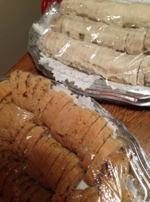 I baked fruit and nut biscotti and Mrs, Scarano's Italian Strip Cookies