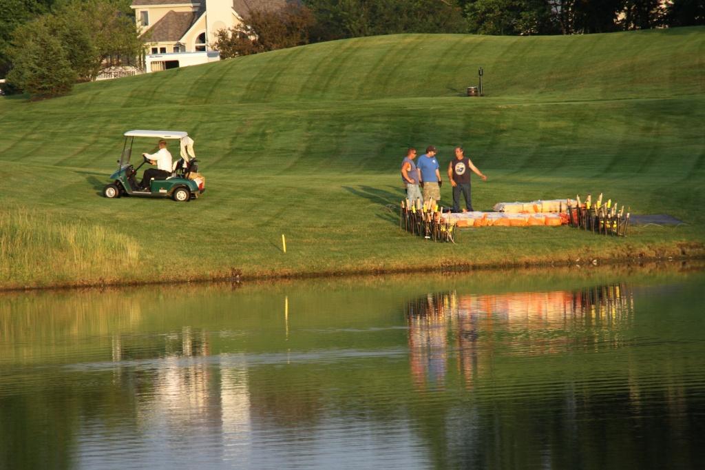 preparing fireworks at the Lakes