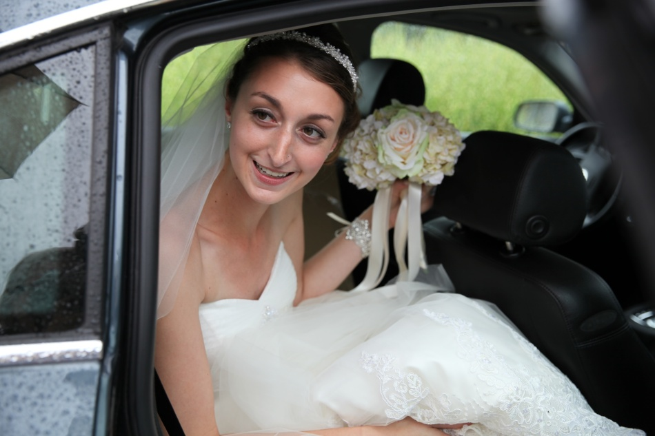 bride in car