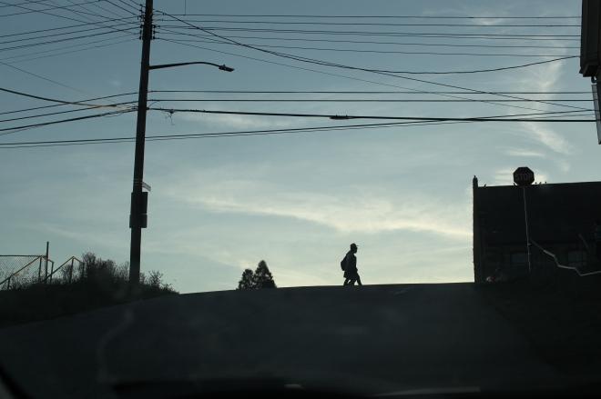 students in crosswalk silhouette