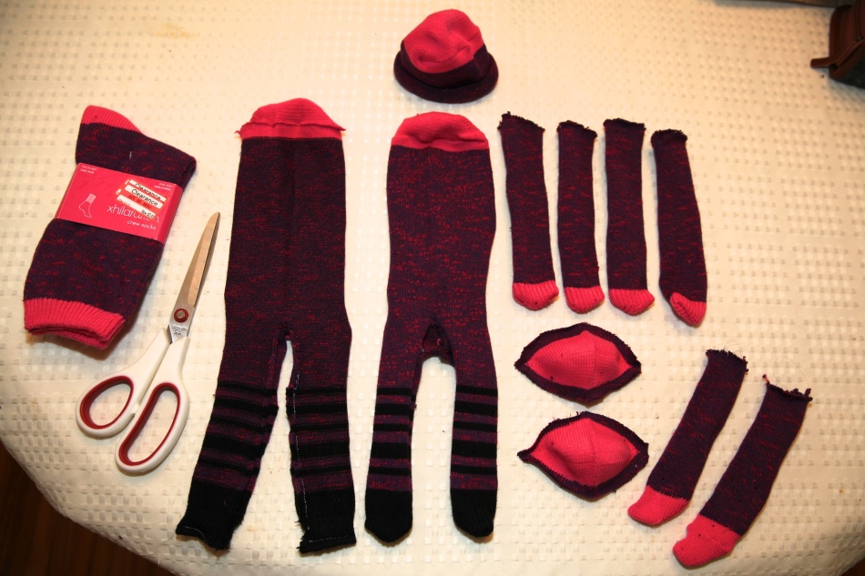 Socks ready to make into monkeys