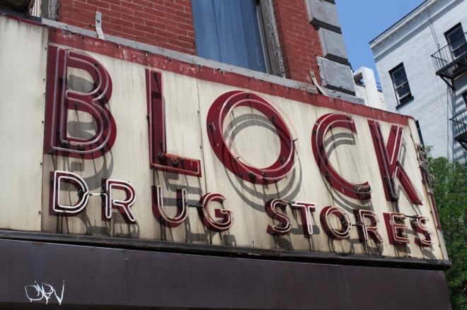 block drug store sign