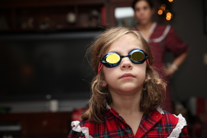 Maura likes her new swim goggles