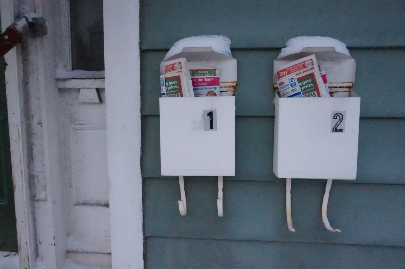 snow topped mailboxes