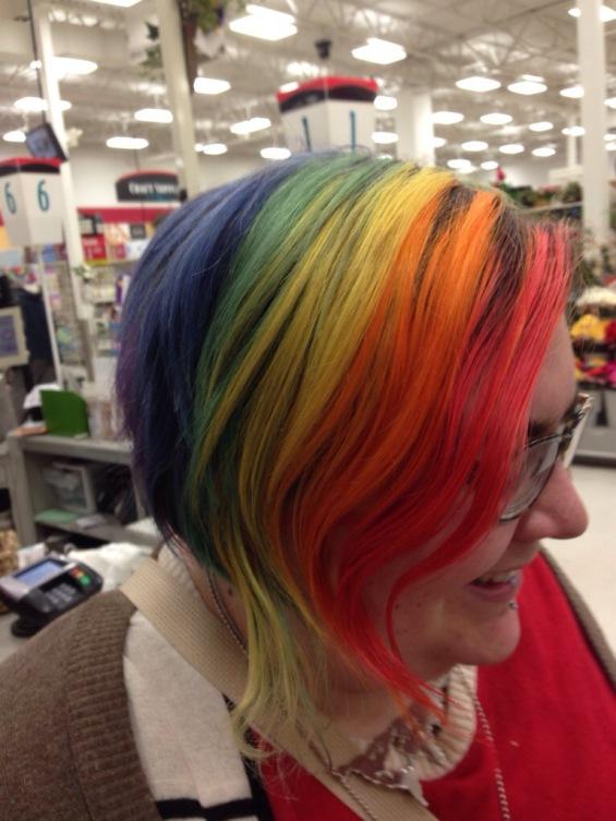 Rainbow hair in Michael's
